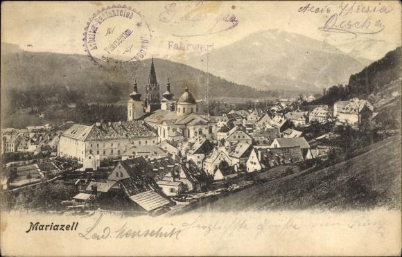 Ak Mariazell Steiermark, Panorama vom Ort 0