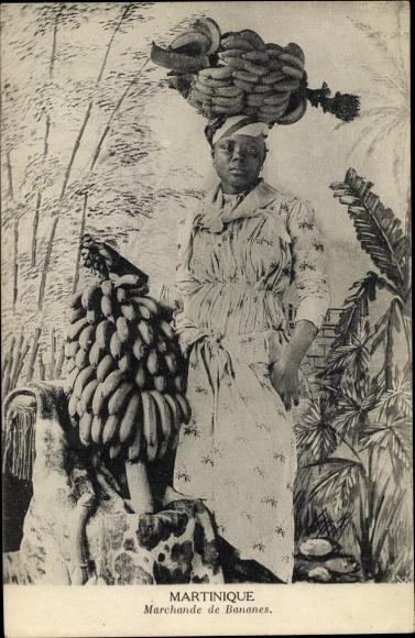 Ak Martinique, Marchande de Bananes, Portrait 0