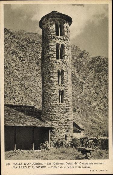 Ak Santa Coloma Andorra, Detall del Campanar romànic 0