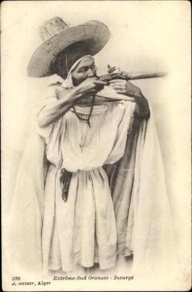 Ak Oran Algerien, Extrême Sud Oranais, Insurgé, Aufständischer, Portrait 0