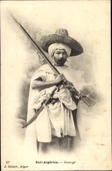 Ak Algerien, Sud Algérien, Insurgé, Aufständischer, Portrait