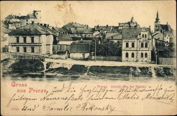 Ak Přerov Prerau Reg. Olmütz, Aussicht von der Brücke