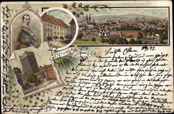 Litho Cheb Eger Reg. Karlsbad, Panorama vom Ort, Wallenstein, Portrait, Todeshaus, Schwarzer Turm