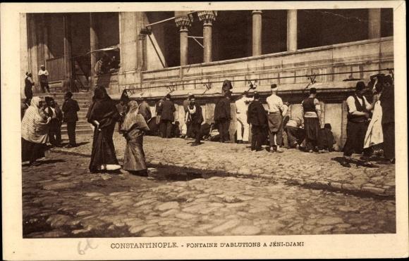 Ak Konstantinopel Istanbul Türkei, Fontaine d'Ablutions a Jéni Djami 0