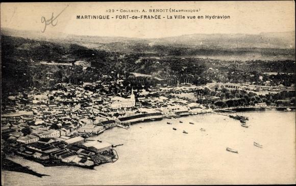 Ak Fort de France Martinique, La Ville vue en Hydravion, Fliegeraufnahme 0