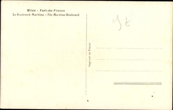 Ak Milon Fort de France Martinique, Le Boulevard Maritime 1