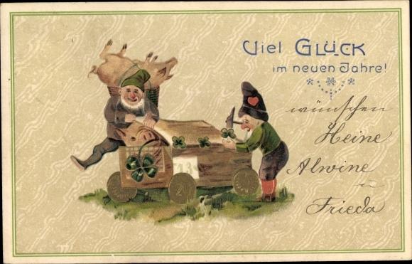Präge Ak Glückwunsch Neujahr, Zwerge, Schweine, Goldmünzen, Kleeblätter