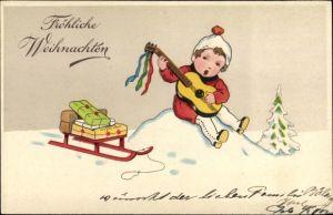 Ak Frohe Weihnachten, Schlitten, Geschenke, Kind m. Gitarre, Tannenbaum