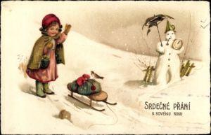 Ak Glückwunsch Neujahr, Schlitten, Schneemann, Uhr, Pilze, Mädchen, Schneelandschaft
