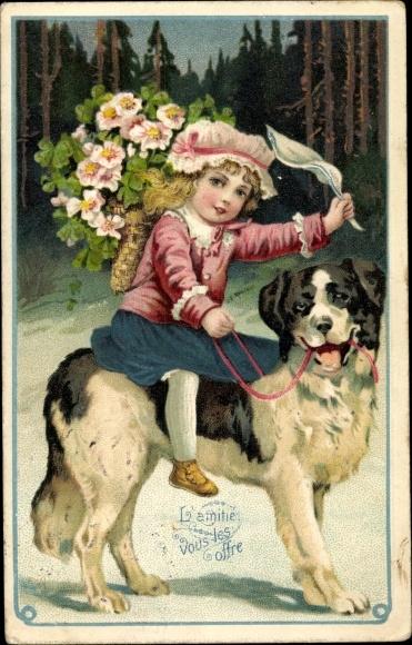 Präge Ak Mädchen, Allegorie auf den Frühling, berittener Hund, Wald, Schneelandschaft