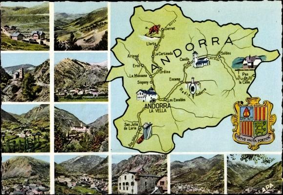 Landkarten Ak Andorra, Valls d'Andorra, Pas de la Casa, Lacets d'Envalira, Chapelle St Jean, Canillo