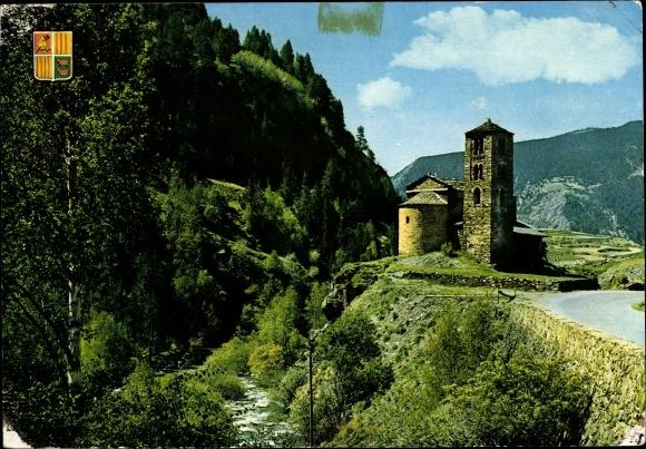 Ak Canillo Andorra, Église roman de Saint Jean de Casselles
