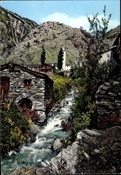 Ak Canillo Andorra, Vista Parcial Tipic, Vieux Moulin, Église