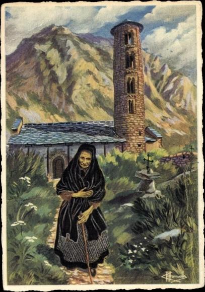 Künstler Ak Santa Coloma Andorra, alte Frau in landestypischer Tracht, Kirche