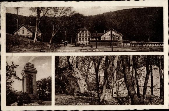 Ak Wittmar Niedersachsen, Waldwirtschaft zur Asse, Bismarcksäule, Burgruinen