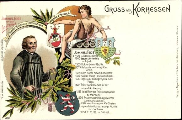 Litho Johannes Feige, Portrait, Werdegang, Wappen, Kanzler v. Landgraf Philipp d. Großmutige