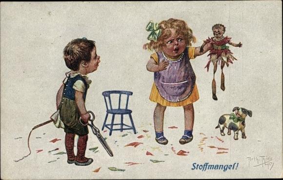 Künstler Ak Thiele, Arthur, Stoffmangel, Kinder, Junge, Zerschnittene Puppe, Schere