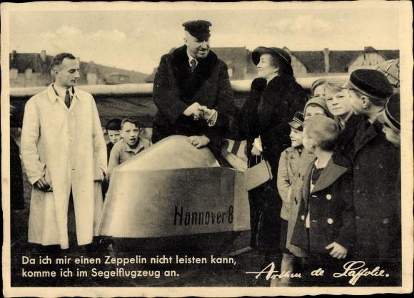Ak Da ich mir einen Zeppelin nicht leisten kann, Segelflugzeug, Hannover 8, Arthur de Laffolie