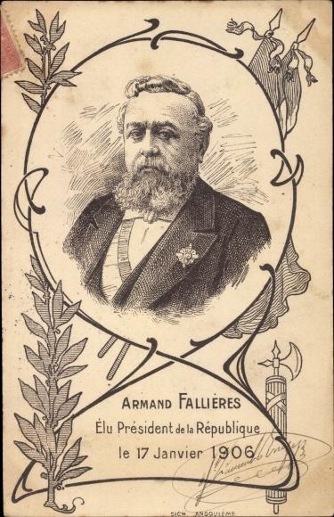 Künstler Ak Armand Fallières, Président de la République, 17 Janvier 1906