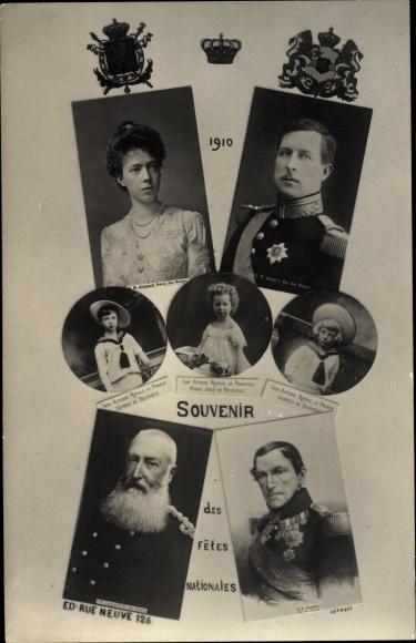 Ak König Albert I. von Belgien, Königin Elisabeth Gabriele von Belgien, Leopold II., Leopold I.
