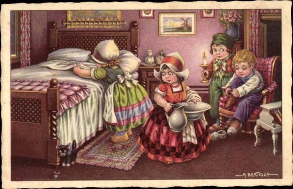 Künstler Ak Bertiglia, Aurelio, Kinder in Trachten, Schlafzimmer