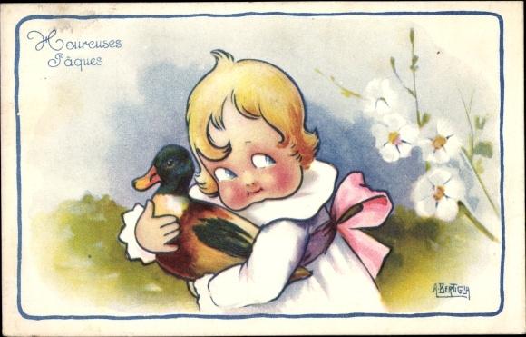 Künstler Ak Bertiglia, Aurelio, Glückwunsch Ostern, Heureuses Paques, Mädchen, Ente
