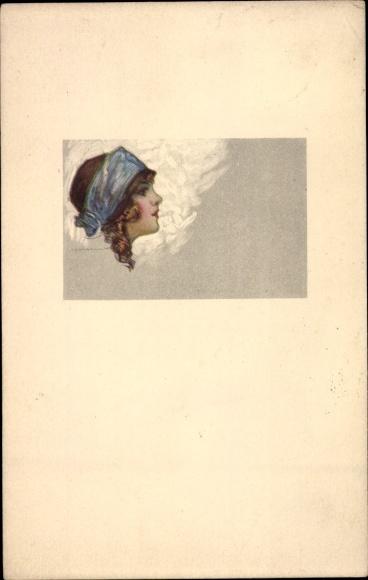 Künstler Ak Corbella, T., Frauenportrait, Haarband