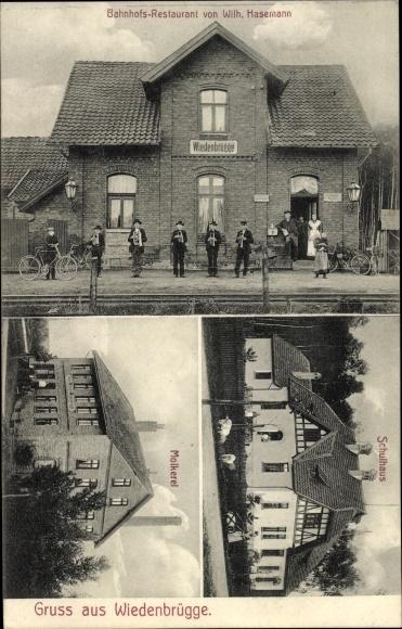 Ak Wiedenbrügge Wölpinghausen in Niedersachsen, Bahnhofs Restaurant, Molkerei, Schulhaus