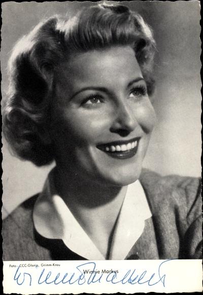 Ak Schauspielerin Winnie Markus, Portrait, Autogramm