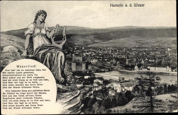 Ak Hameln in Niedersachsen, Totale, Weserlied, Harfenspielerin