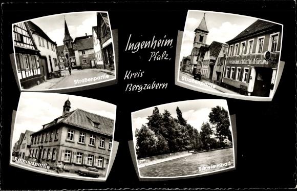 Ak Ingenheim Pfalz, Straße, Restauration zum Pfälzer Hof, Rathaus, Schwimmbad