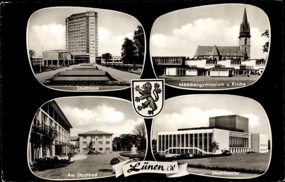 Ak Lünen in Nordrhein Westfalen, Stadthaus, Mädchengymnasium, Kirche, Stadtbad, Stadttheater, Wappen