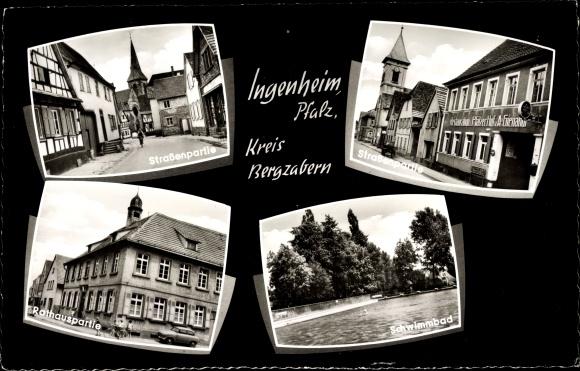 Ak Ingenheim in der Pfalz, Straßenpartie, Schwimmbad, Rathaus