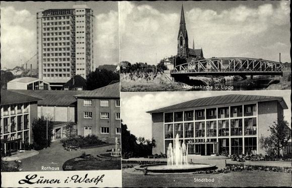 Ak Lünen in Nordrhein Westfalen, Marienkirche, Rathaus, Stadtbad