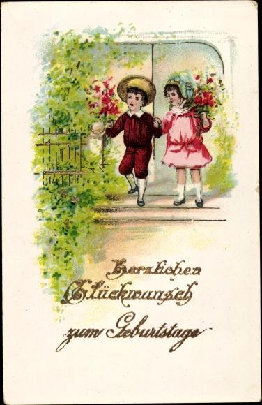 Präge Gold Ak Glückwunsch Geburtstag, Kinder, Blumen