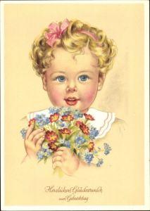 Künstler Ak Klinge, Glückwunsch Geburtstag, Blumenstrauß, Mädchen