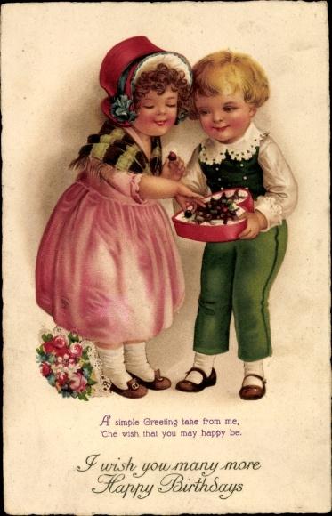 Ak Glückwunsch Geburtstag, Pralinenschachtel, Blumenstrauß, Kinder