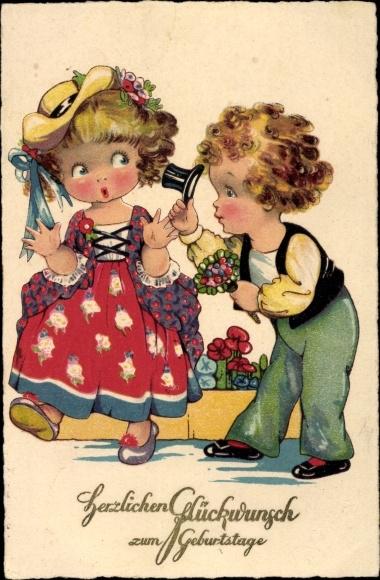 Ak Glückwunsch Geburtstag, Kinder, Blumenstrauß, Zylinder, Kitsch