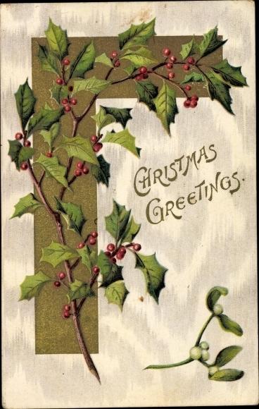 Präge Ak Frohe Weihnachten, Stachelpalme, Mistelzweig