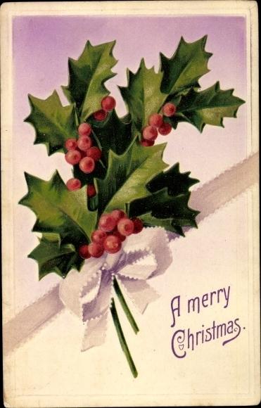 Präge Ak Frohe Weihnachten, Stachelpalme, Zweig, Schleife