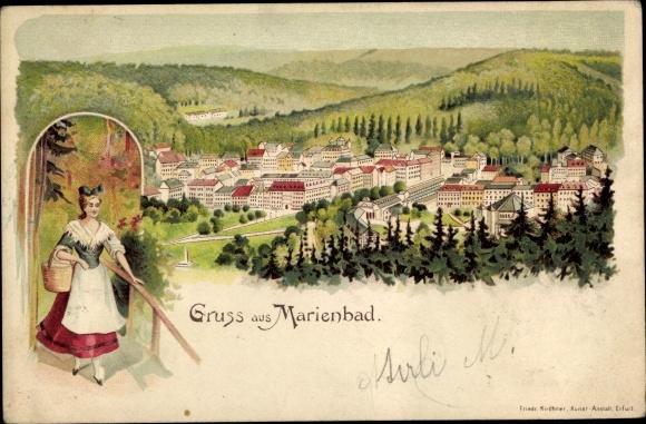 Litho Mariánské Lázně Marienbad Reg. Karlsbad, Frau in tschechischer Tracht, Panorama vom Ort