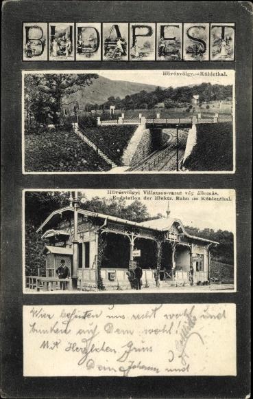 Buchstaben Ak Budapest Ungarn, Kühletal, Endstation der elektrischen Bahn