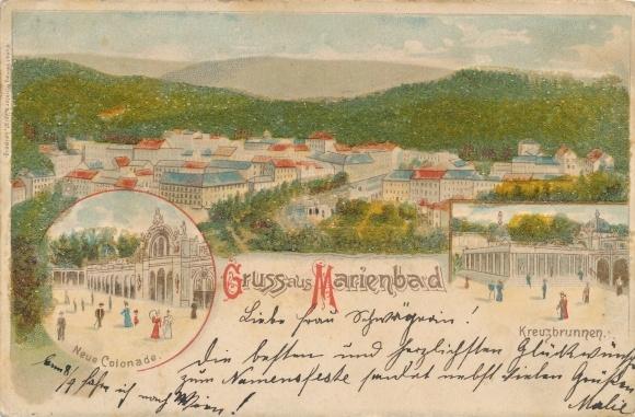 Perl Litho Mariánské Lázně Marienbad Reg. Karlsbad, Neue Kolonnade, Kreuzbrunnen, Panorama vom Ort