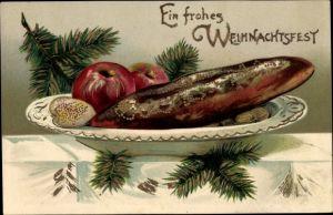 Präge Ak Frohe Weihnachten, Lebkuchen, Äpfel, Tannenzweig