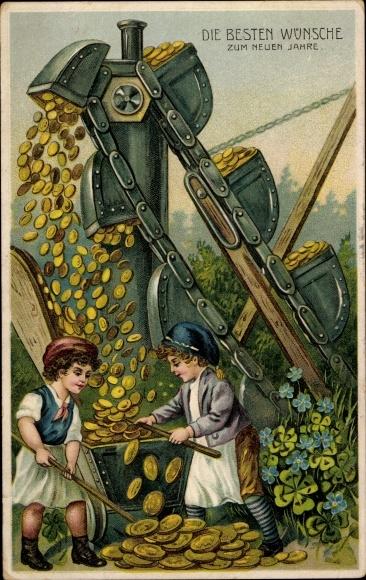 Präge Ak Glückwunsch Neujahr, Goldmünzen, Kleeblätter, Bagger