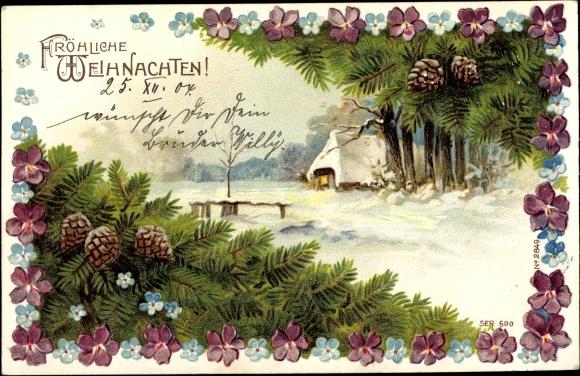 Präge Passepartout Ak Frohe Weihnachten, Tannenzapfen, Tannenzweig, Vergissmeinnicht, Hasu im Schnee