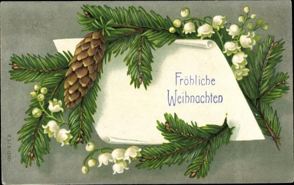 Präge Passepartout Ak Frohe Weihnachten, Tannenzapfen, Tannenzweig, Glockenblumen
