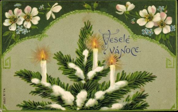 Präge Passepartout Ak Frohe Weihnachten, Tannenbaum, Kerzen, Vergissmeinnicht