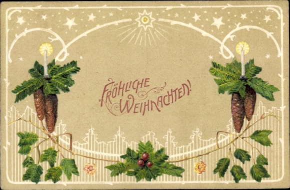 Präge Ak Frohe Weihnachten, Tannenzapfen, Tannenzweig, Kerzen, Stachelpalme