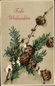 Präge Ak Frohe Weihnachten, Tannenzapfen, Tannenzweig, Schnee